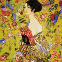 """RIOLIS Counted Cross Stitch Kit 13.75""""X13.75""""-Lady With Fan/G.Klimt's (14 Count)"""