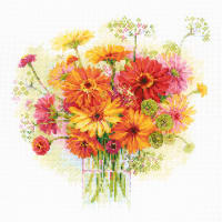 """RIOLIS Counted Cross Stitch Kit 11.75""""X11.75""""-Watercolor Gerberas (14 Count)"""