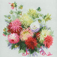"RIOLIS Counted Cross Stitch Kit 17.75""X17.75""-Dahlias (14 Count)"
