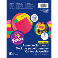 """Pacon Premium Tagboard Paper 8.5""""X11"""" 50 Sheets/Pkg-Brights Assorted Colors"""
