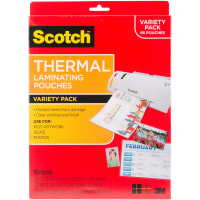 """Scotch Variety Pack Thermal Laminator Pouches 3 Mil 65/Pkg-(35) Letter, (15) 4""""X6"""" & (15) Wallet"""