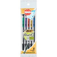 BIC Mechanical #2 Pencils .7mm 5/Pkg-Assorted Colors