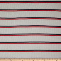Fabric Merchants Waffle Stretch Knit Stripe Ivory/Red