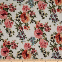Fabric Merchants Waffle Knit Watercolor Floral Ivory/Coral