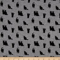 Telio Dakota Rayon Jersey Cats Print Grey Fabric
