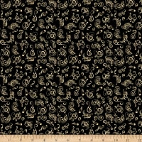 QT Fabrics Minky Fine Tuning Music Notes Black