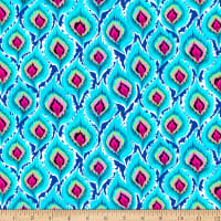 QT Fabrics Minky Delilah Feathers Turquoise