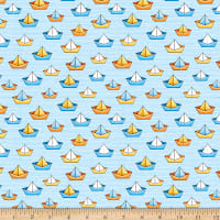 QT Fabrics Minky Quackers Sailboats Light Blue