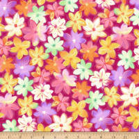 QT Fabrics Minky Callie Packed Floral Abstract Fuchsia