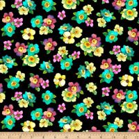 QT Fabrics Minky Rosalyn Packed Floral Black