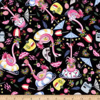 QT Fabrics Minky Flamingo Fantastico Flamingo Toss Black