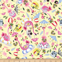 QT Fabrics Minky Flamingo Fantastico Flamingo Toss Yellow