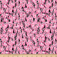 QT Fabrics Minky Flamingo Fantastico Flamingos Black
