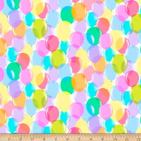 QT Fabrics Minky Pop Culture Ballons White