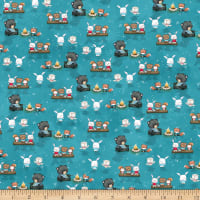 QT Fabrics Minky Campfire Friends Animal Toss Turquoise