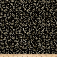QT Fabrics Jersey Knit Fine Tuning Music Notes Black