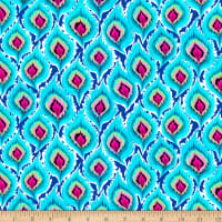 QT Fabrics Stretch Jersey Knit Delilah Feathers Turquoise
