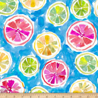 QT Fabrics Stretch Jersey Knit Wild & Fruity Citrus Blue