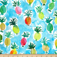 QT Fabrics Stretch Knit Wild & Fruity Pineapple Blue