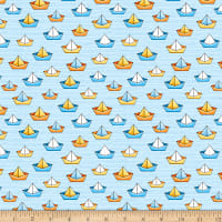 QT Fabrics Knit Quackers Sailboats Light Blue