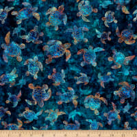 QT Fabrics Stretch Knit Oceana Sea Turtles Lagoon