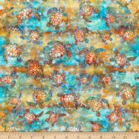 QT Fabrics Knit Oceana Sea Turtles Multi