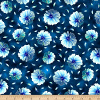 QT Fabrics Stretch Knit Kenzie Tossed Blooms Dark Blue