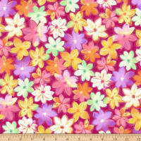 QT Fabrics Stretch Jersey Knit Callie Packed Floral Abstract Fuchsia