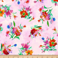 QT Fabrics Stretch Jersey Knit Full Bloom Spaced Floral Pink