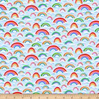 QT Fabrics Stretch Knit Jesus Loves Me Rainbows Light Blue