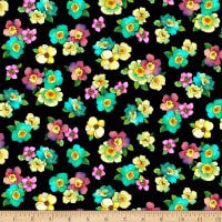 QT Fabrics Stretch Jersey Knit Rosalyn Packed Floral Black