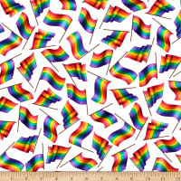 QT Fabrics Stretch Knit This & That II Rainbow Flags White