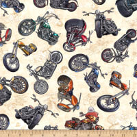 QT Fabrics Stretch Jersey Knit Easy Rider Motorcycle Toss Cream