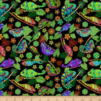 QT Fabrics Stretch Jersey Knit Color Me Chameleon Chameleons Black