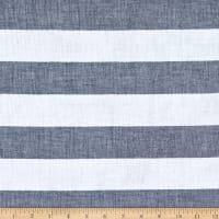 Telio Cotton Gauze Yarn Dyed Stripe Navy