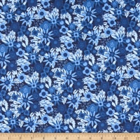 Telio Morocco Blues Stretch Poplin Floral Indigo