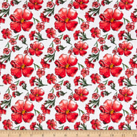 Telio Bloom Stretch Cotton Sateen Floral Red
