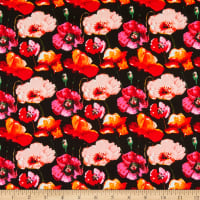 Telio Bloom Stretch Cotton Sateen Floral Poppies Black/Pink