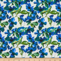 Telio Bloom Stretch Cotton Sateen Floral Susans Blue