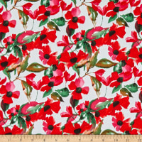 Telio Bloom Stretch Cotton Sateen Floral Susans Poppy