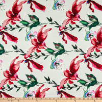 Telio Bloom Stretch Cotton Sateen Flower Lillies Red
