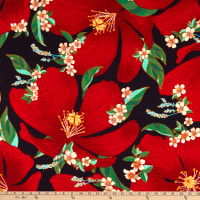 Telio Digital Kahlo Slub Rayon Challis Print Flowers Navy/Red