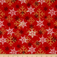 Henry Glass Flannel Gnomies Snowflake Red