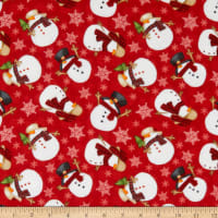Henry Glass Flannel Gnomies Tossed Snowmen Red