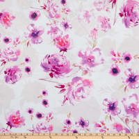 E.Z. Fabric Minky Hibiscus and Rose Pink/Cream