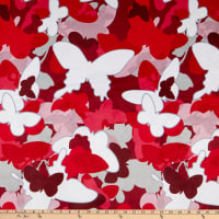 E.Z. Fabric Minky Butterfly Flutter Red