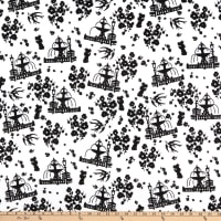 E.Z. Fabric Minky Fountains and Florals White