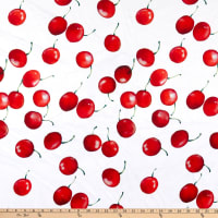 E.Z. Fabric Minky Cherry Berries Red, White