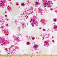 E.Z. Fabric Polyester Spun Stretch Jersey Knit Hibiscus and Rose Pink/Cream
