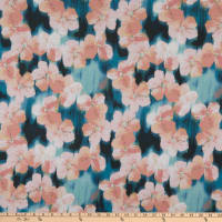 E.Z. Fabric Stretch Jersey Knit Pink Floral Blossoms Blue